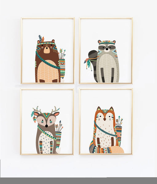Wall and Wonder Wall Prints Tribal Animals Nursery Art Prints