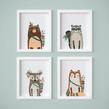 Load image into Gallery viewer, Wall and Wonder Wall Prints Tribal Animals Nursery Art Prints
