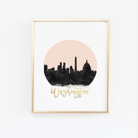 Wall and Wonder Wall Prints Washington Skyline Wall Print