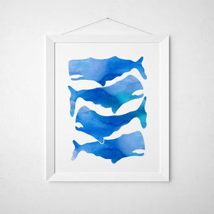 Wall and Wonder Wall Prints Whale Blue Wall Print