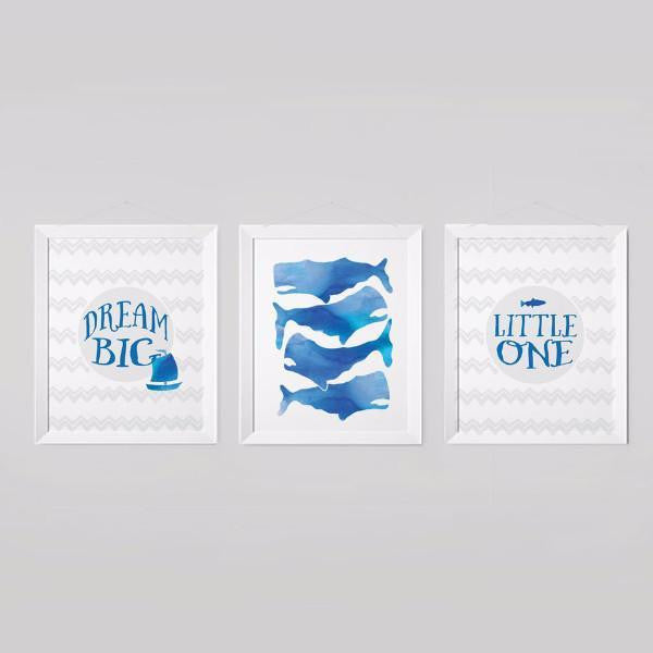 Wall and Wonder Wall Prints Whale Nautical Nursery Prints - Dream Big Little One - Set of 3