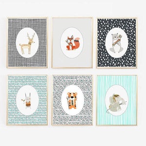 Wall and Wonder Wall Prints Woodland Animal Prints - Teal, Orange, Gray - Gender Neutral - Bear, Rabbit, Deer, Tiger, Elephant