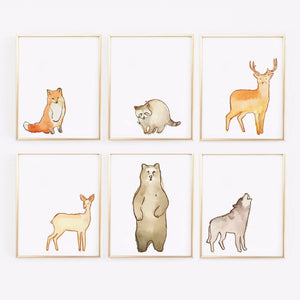 Wall and Wonder Wall Prints Woodland Watervolor Animal Prints - Set of 6 Nursery Prints