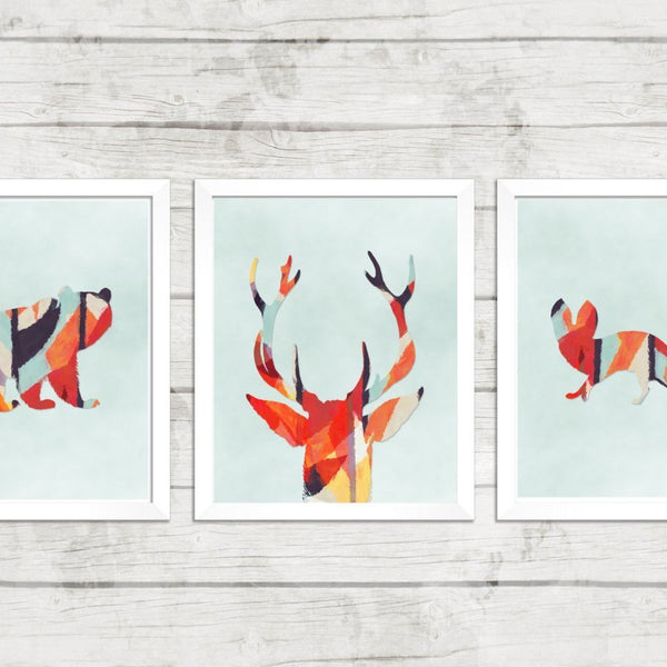 Wall and Wonder Wall Prints Woodlands Aztec Watercolor Nursery - Set of 3 Prints