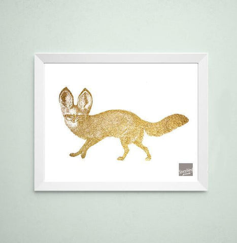 Wall and Wonder Wall Prints Woodlands nursery - Fox Faux Gold Wall Art Print