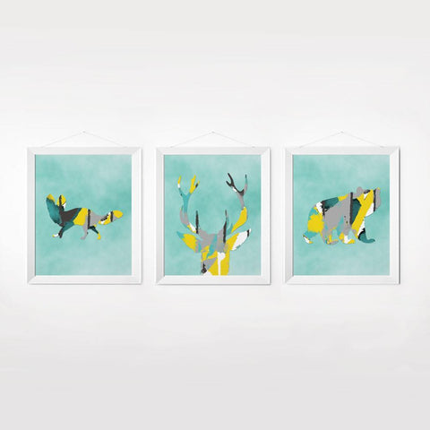 Wall and Wonder Wall Prints Woodlands Watercolor in Turquoise Yellow Gray - Set of 3
