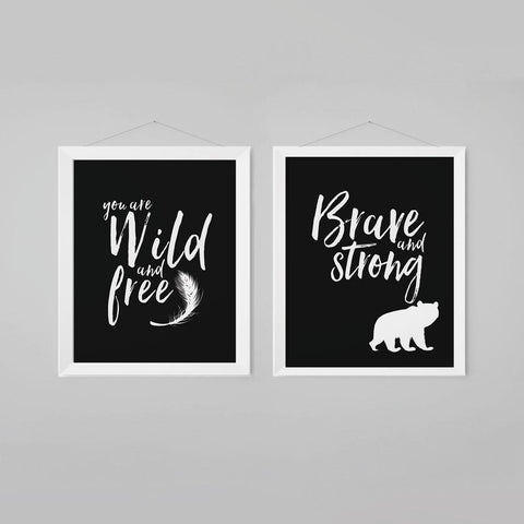 Wall and Wonder Wall Prints Woodlands Wild and Free Print - Nursery Decor