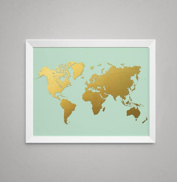 Wall and Wonder Wall Prints World Map - Printed Gold on Mint