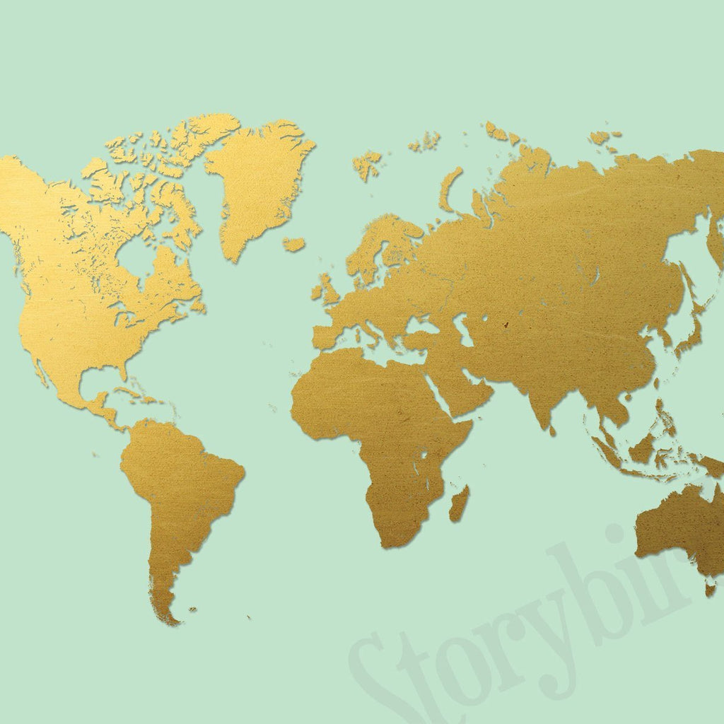 World map printed gold on mint wall and wonder wall prints world map printed gold on mint gumiabroncs Images