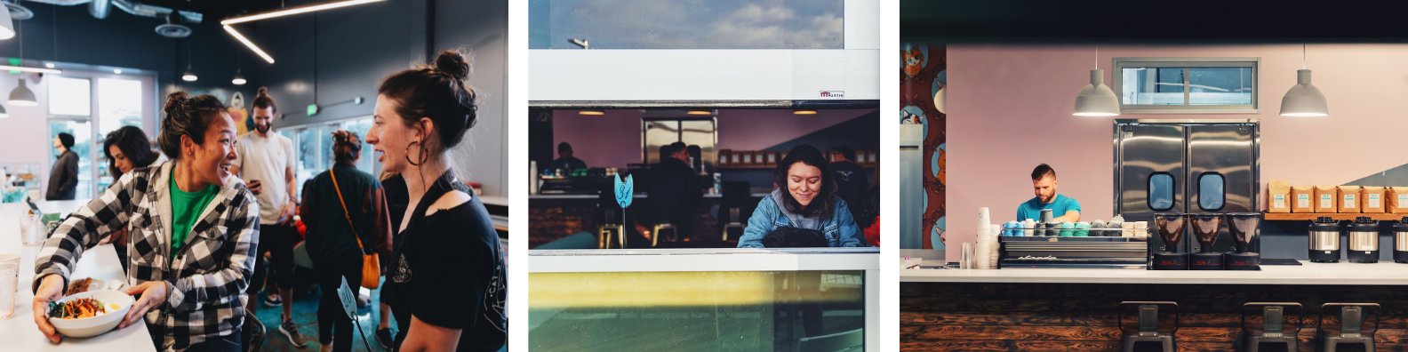 photos of two cat & cloud employees smiling with food from the kitchen, a guest working at her computer near the open-air roll up window with coffee, and baristas working behind the espresso bar
