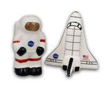 Shuttle/Astronaut Ceramic Salt and Pepper Shakers