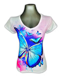Blue Butterfly Rhinestone Shirt
