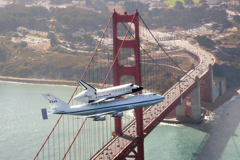 Endeavour Over Golden Gate Bridge Postcard