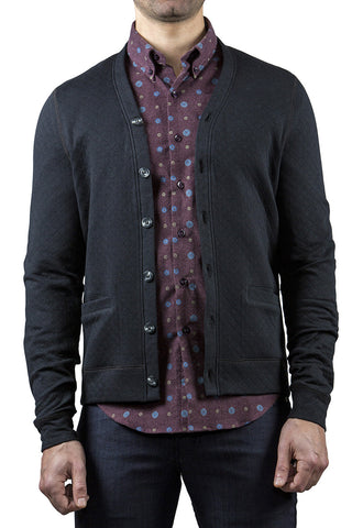 QUILTED KNIT CARDIGAN - CHARCOAL