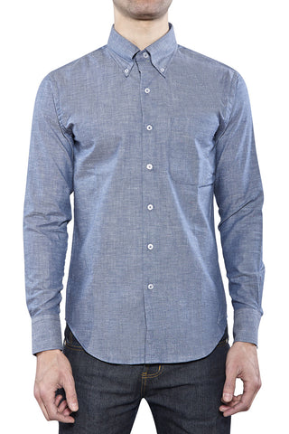 BLUE CHAMBRAY REGULAR SHIRT W/ MULTICOLOR NEPS