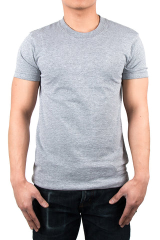 CIRCULAR-KNIT SEAMLESS BODY TEE - HEATHER GREY