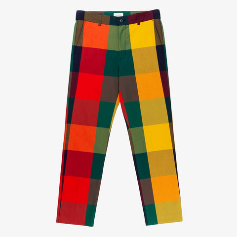 PLAID COTTON TROUSER - RAINBOW PLAID
