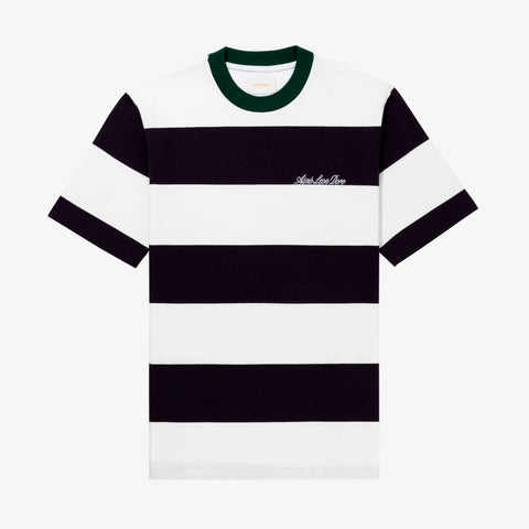 BOLD STRIPED LOGO TEE - NAVY