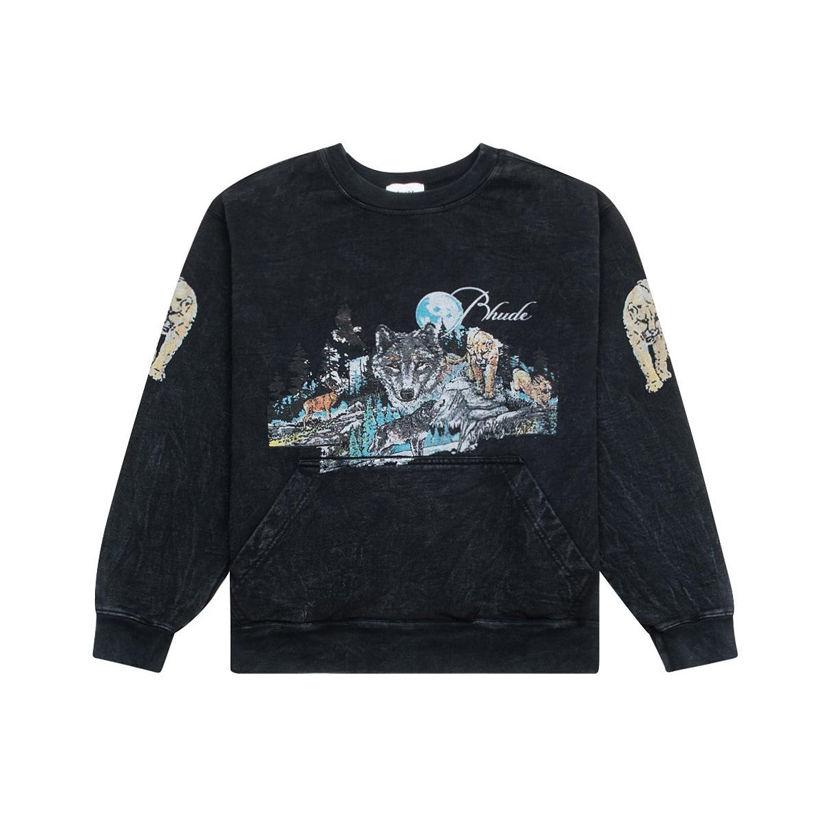 WOLF IN NATURE CREWNECK - BLACK