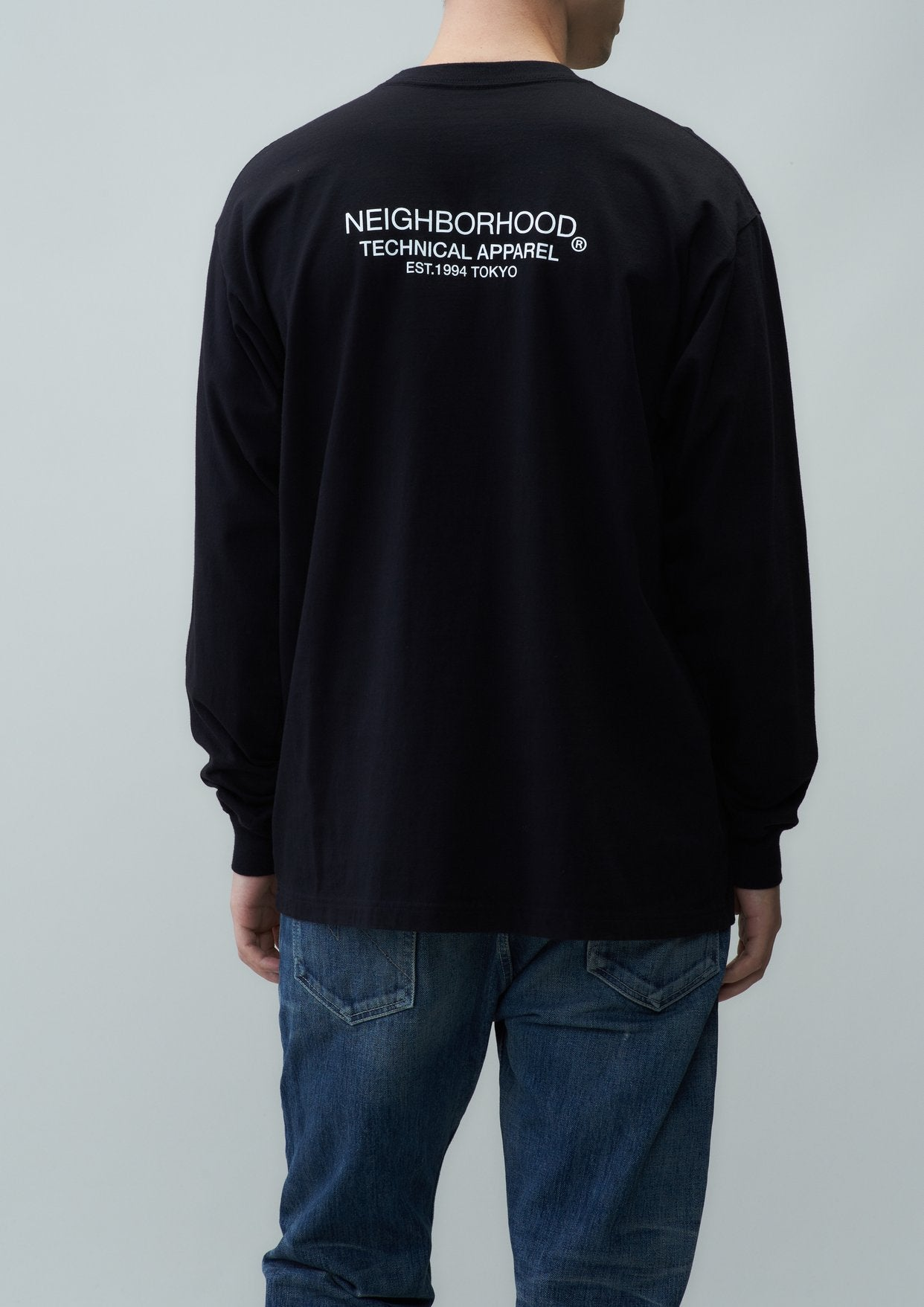 DISTORTION-1 / C-TEE . LS - BLACK