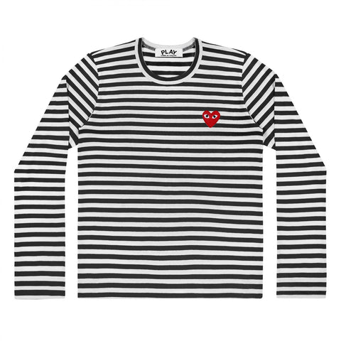 STRIPED HEART LOGO LS TEE - BLACK / WHITE