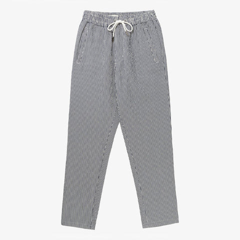 SEERSUCKER LEISURE PANT - WHITE / NAVY