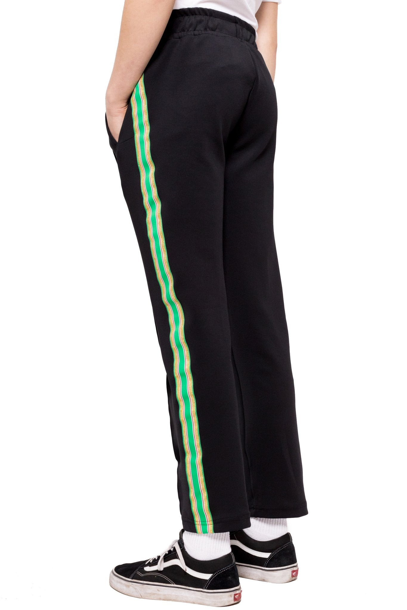 BRAVO TRACK PANTS - BLACK/GREEN