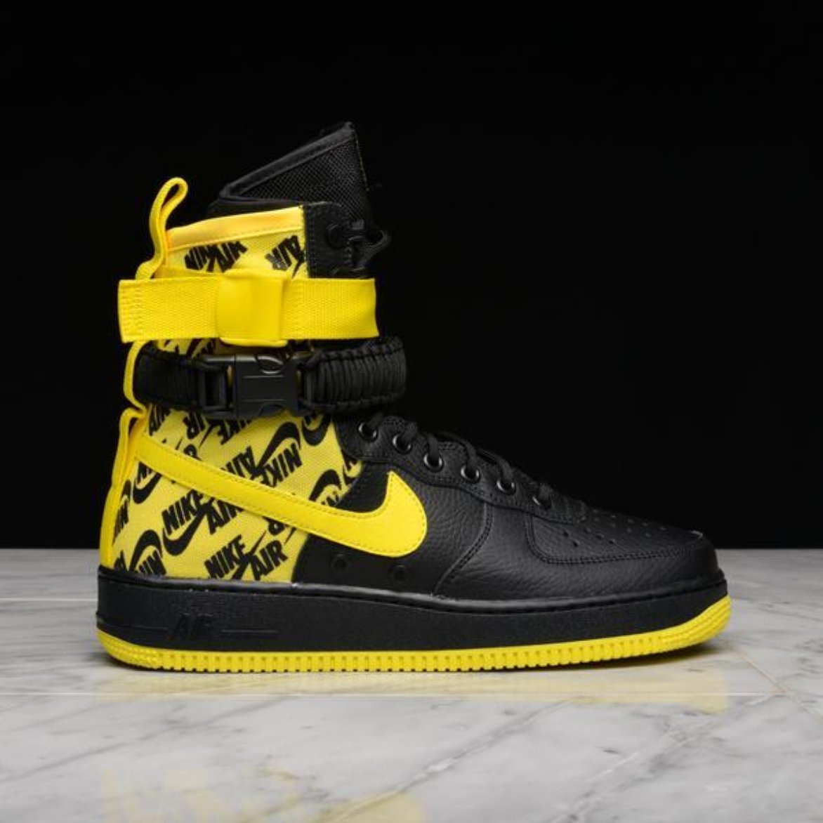 c805d5e54edfb SF AF1- BLACK   DYNAMIC YELLOW