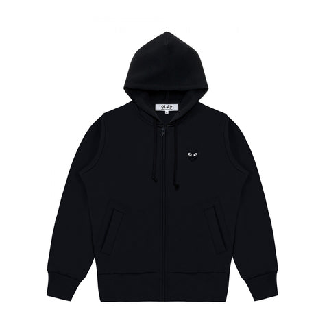 FULL ZIP BLACK HEART BACK PRINT HOODIE - BLACK