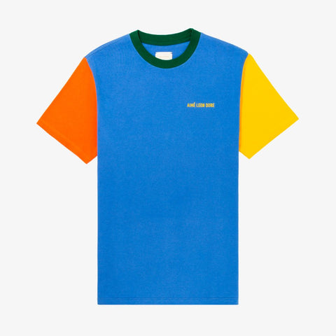 S/S COLOR-BLOCKED TEE - BLUE