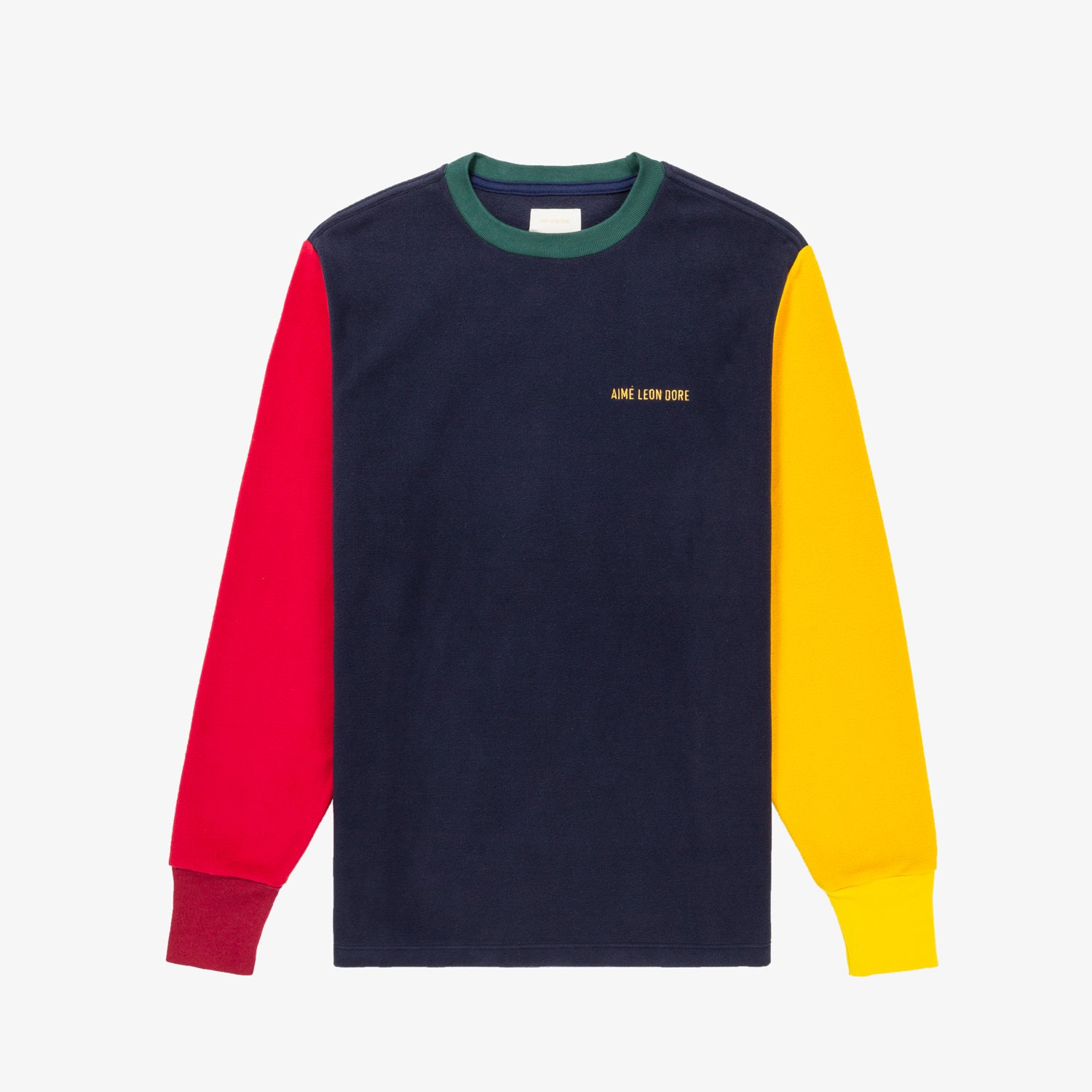 COLOR-BLOCKED FLEECE LS TEE - NAVY