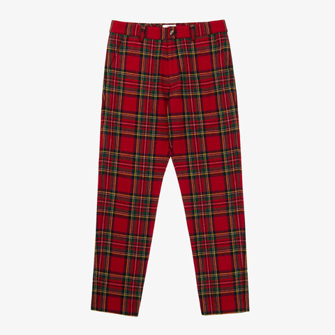 WOOL PLAID TROUSER - RED