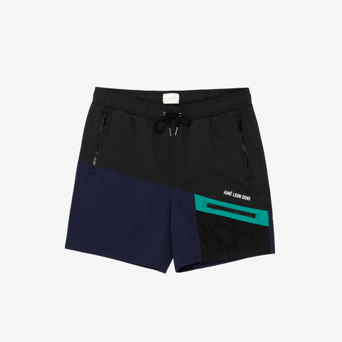 COLOR BLOCKED HIKING SHORTS - NAVY