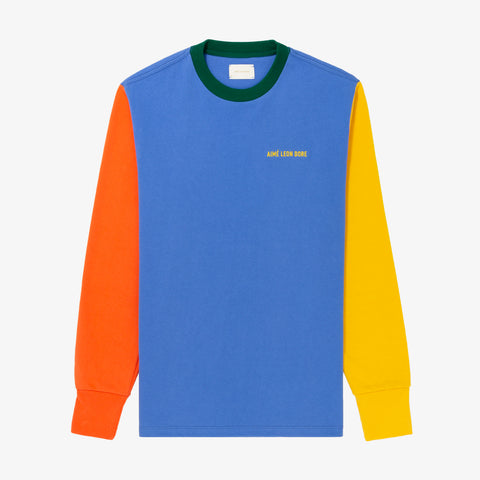 L/S COLORBLOCKED TEE - BLUE