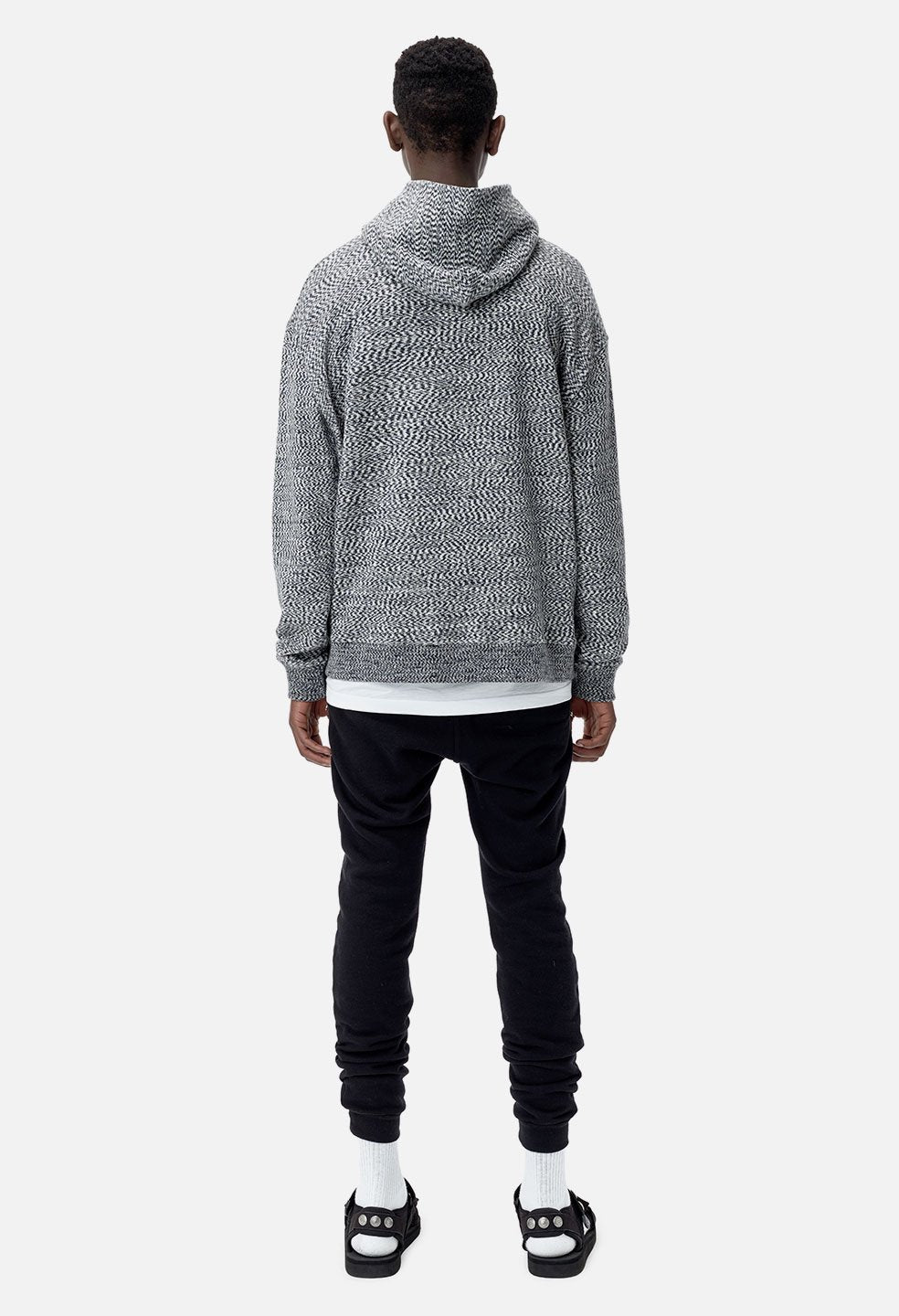 SLIM FIT GLITCH CROPPED HOODIE -  GREY