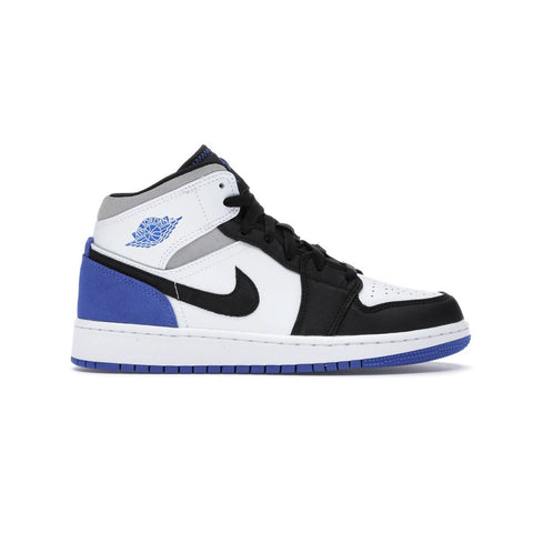 AIR JORDAN 1 MID SE WHITE / BLACK / ROYAL (GS)