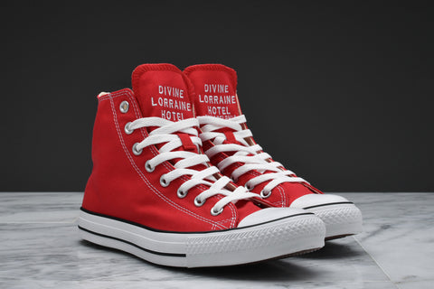 DIVINE LORRAINE HOTEL x CONVERSE CHUCK TAYLOR ALL STAR HI (MEN/GRADE SCHOOL) - RED