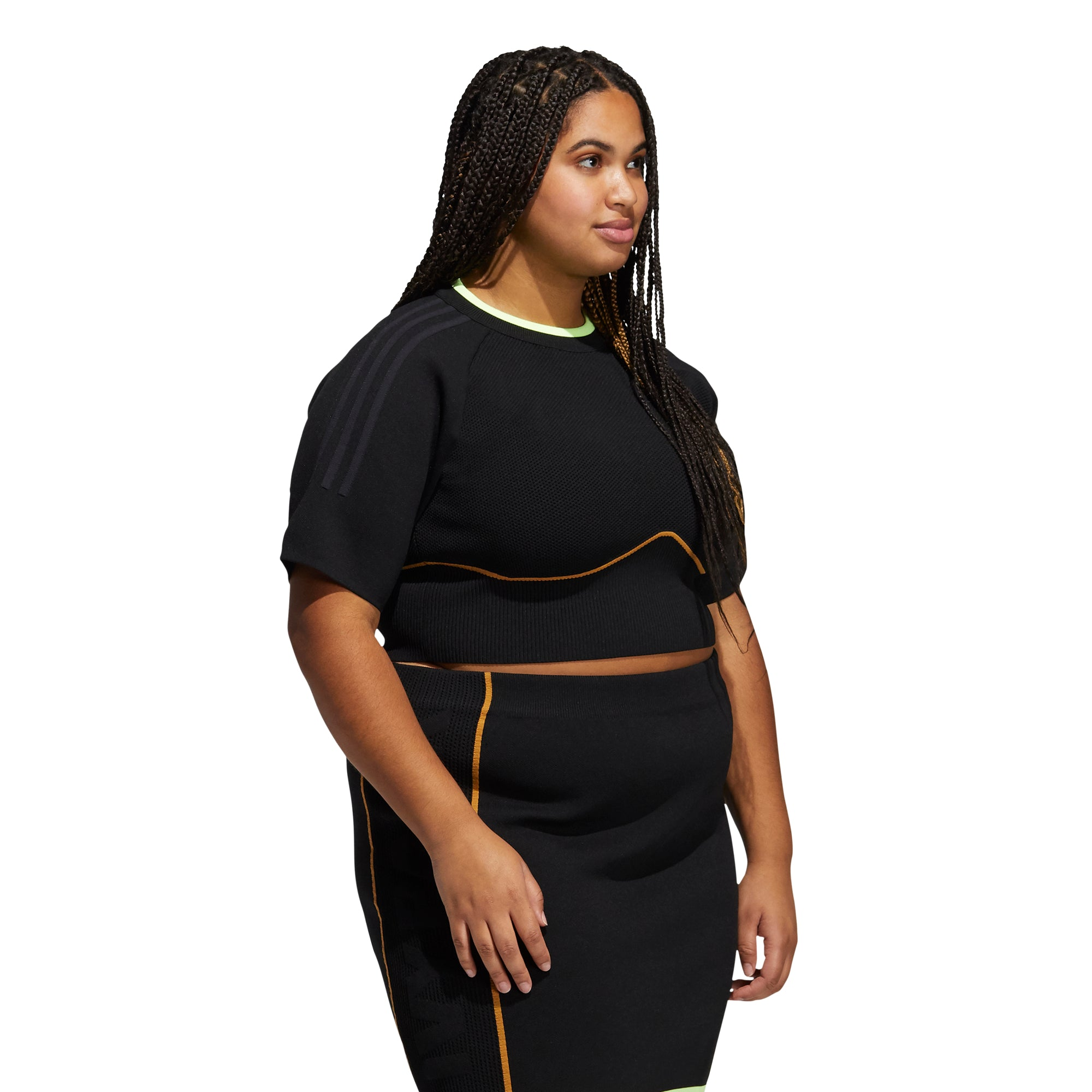 IVY PARK X ADIDAS WMNS KNIT CROP TOP (PLUS SIZE) - BLACK