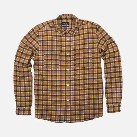 RIGA FLANNEL CHECK OVERSHIRT - TAUPE