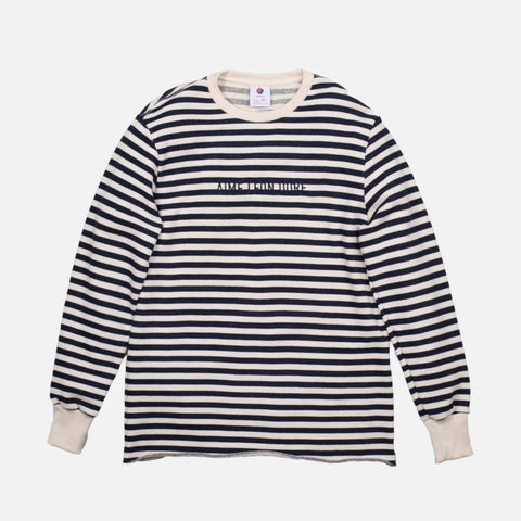 STRIPE LOGO SWEATSHIRT - NATURAL / NAVY
