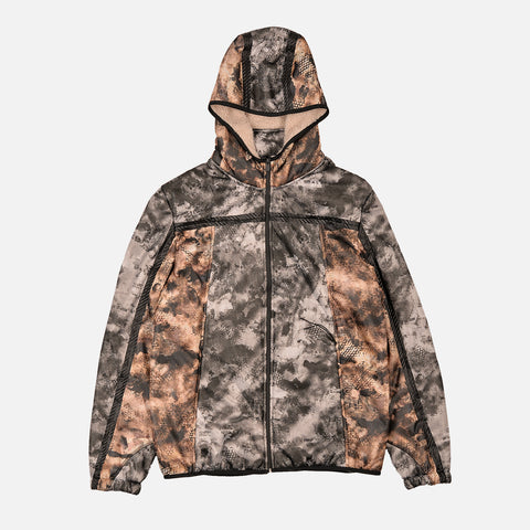 MESH POLAR FLEECE ZIP UP HOODIE - CAMO