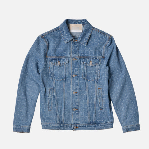 LOGO CHECK DENIM JACKET - BLUE INDACO