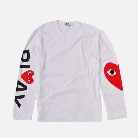 ARM LOGO & HEART L/S TEE - WHITE / RED