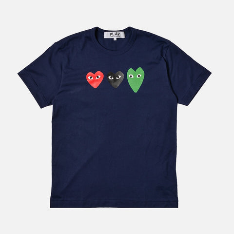 TRIPLE HEART TEE - NAVY