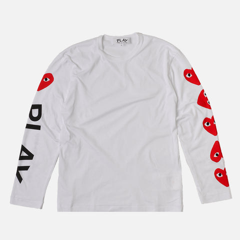 MUTI HEART ARM LOGO L/S TEE - WHITE / RED