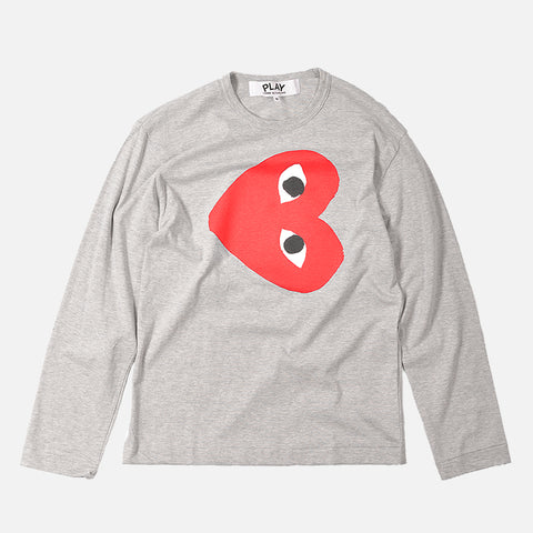 RED HEART L/S TEE - GREY / RED