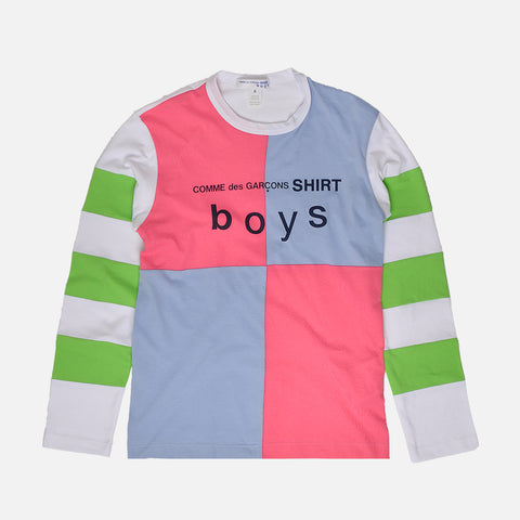 BOYS LOGO COLOR BLOCK L/S TEE - WHITE / BLUE / PINK