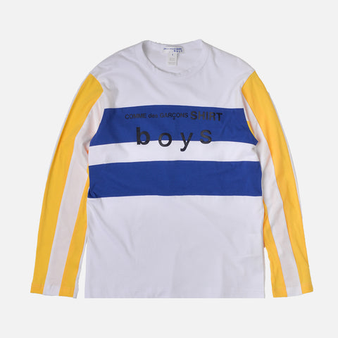BOYS LOGO COLOR BLOCK L/S TEE - WHITE / BLUE / GOLD