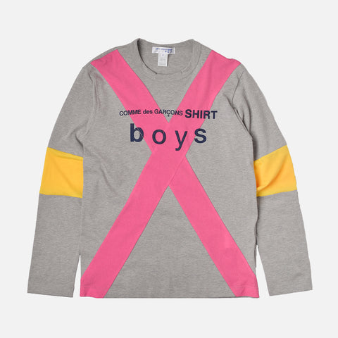 BOYS LOGO COLOR BLOCKED TEE - GREY / PINK / GOLD