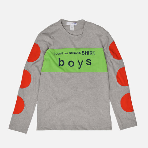 BOYS LOGO COLOR BLOCK L/S TEE - GREY / RED / GREEN